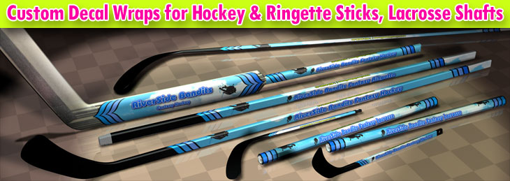 Custom Decal Wrap Graphics for Hockey & Ringette Sticks, Lacrosse Shafts for Palyers and Goalies